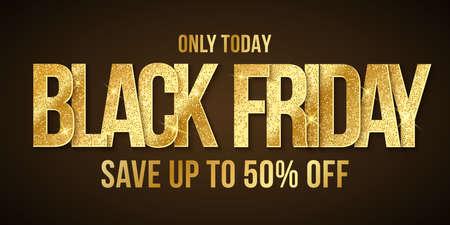 Golden glittering text banner for Black Friday sale. Elegant business poster. Commercial discount event. Special offer. Иллюстрация