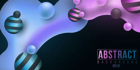 Futuristic concept of fluid design. Luminescent liquid and glowing purple and blue gradient shapes on a dark background. Abstract banner for your project.