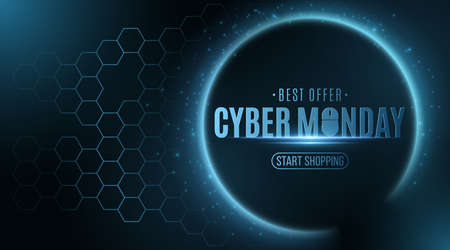 Cyber monday sale .Futuristic glowing banner with hexagon cyber pattern. Business event. Flying abstract lights. Trendy hi-tech design. Иллюстрация
