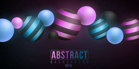 Abstract background of luminescent neon glowing purple and blue gradient balls with patter from lines on a dark background. Futuristic banner for your project. Иллюстрация