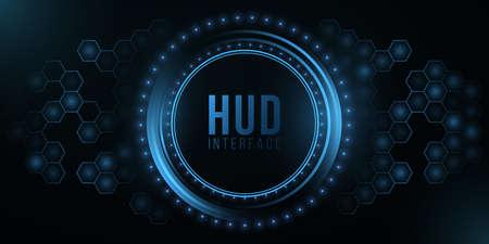 Futuristic HUD interface and glowing hexagonal pattern. System data. Modern UI display. High-tech panel. Glowing sci-fi elements.