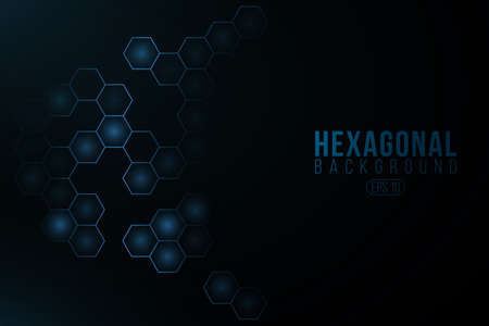 Futuristic glowing hexagonal cyber background. High-tech project. Glowing sci-fi pattern with light effect. Blue honeycomb for scientific design