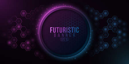 Futuristic banner and glowing hexagonal pattern. System data. High-tech panel. Glowing sci-fi elements with blue and purple light effect.