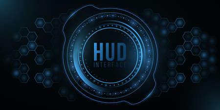 Futuristic HUD interface and glowing hexagonal pattern. Big system data. Modern UI display. High-tech panel for your design. Иллюстрация