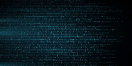 Abstract glowing blue binary code background. Random programming symbols in motion. Digital data. High technology concept. Programming design.
