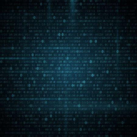 Abstract glowing binary programming code background. Digital data. High technology concept. Programming design. Light effect. Vector illustration. EPS 10 Иллюстрация