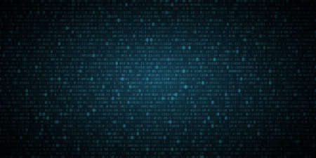 Abstract glowing blue binary programming code background. Digital data. High technology concept. Programming design. Light effect. Vector illustration. EPS 10