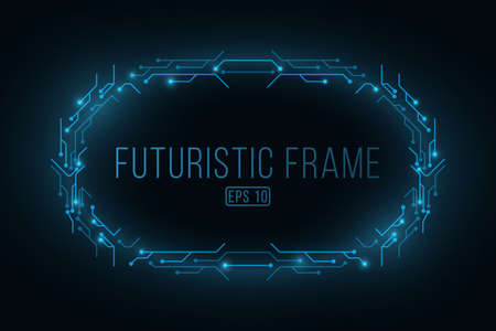 Abstract frame of circuit computer board. Hi-tech and sci-fi. Digital data. High technology concept. Cyber futuristic banner. Software background. Иллюстрация