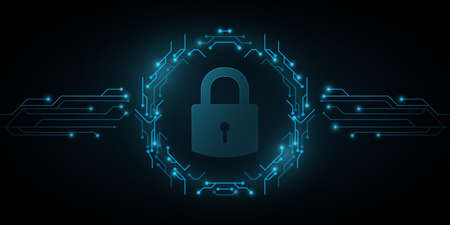 Lock icon in frame of circuit computer board. System software security and protection from hackers. Programming background. Cyber style. Vector illustration. EPS 10 Иллюстрация