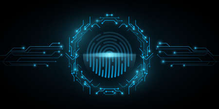 Human fingerprint scanner frame of circuit computer board. System software security and protection from hackers. Programming background. Cyber style. Vector illustration. EPS 10 Иллюстрация
