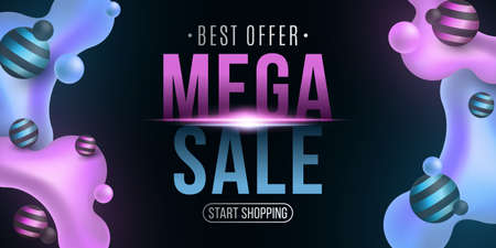 Mega sale poster. Abstract luminescent liquid neon glowing purple and blue gradient shapes on a dark background. Special offer. Banner for your business design. Vector illustration.