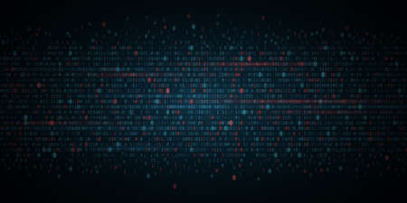 Abstract Programming Background. Blue and red glowing binary software code. Random binary numbers of program code. Digital data technology concept. Иллюстрация