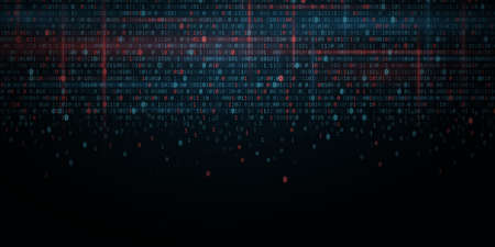 Abstract Programming Background. Glowing binary software code. Random binary numbers of program code. Digital data technology concept. Иллюстрация