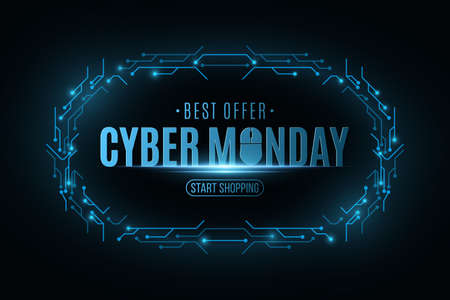 Cyber Monday Sale banner. Electronic circuit board frame. Big Business Technology Sale Event. Vector illustration Иллюстрация