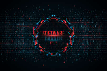 Software programming binary code and computer circuit board banner, Cyber Security. Digital Data Technology Concept. Vector Illustration.
