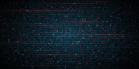 Glowing Binary Software Code Background. Random binary numbers of program code. Digital data technology concept. Vector Illustration.