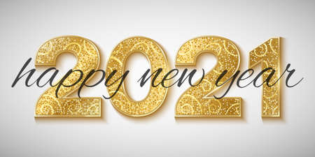 Happy New Year 2021 golden glittering numbers on a bright background. Gift card for a holiday event. Vector illustration.
