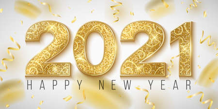 Happy New Year 2021 banner. Golden glittering numbers with confetti and tinsel on a bright background. Gift card for a holiday event. Vector illustration. Иллюстрация