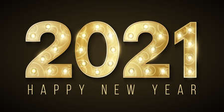 Happy New Year 2021. Luxurious golden numbers with chic retro lamps. Elegant greeting card. Vector illustration.