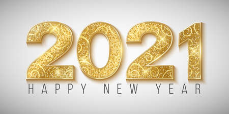 Golden glittering 2021 numbers for Happy New Year on a bright background. Greeting card for a holiday event. Vector illustration.