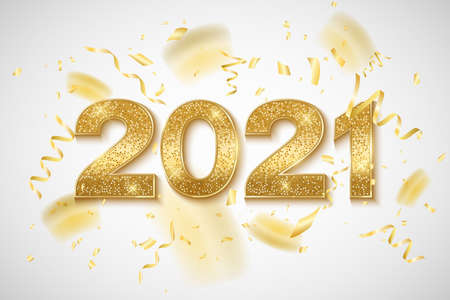 Happy New Year 2021 golden glittering numbers with confetti and tinsel on a bright background. Gift card for a holiday event. Vector illustration.