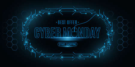 Cyber Monday Sale banner. Electronic circuit board frame with hexagon pattern. Computer mouse. Big Business Technology Event. Vector illustration.