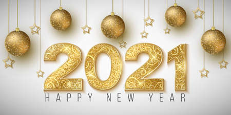 Golden glittering 2021 numbers for Happy New Year on a bright background. Decoration of balls and stars. Greeting card for a holiday event. Vector illustration. Иллюстрация