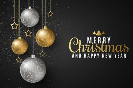 Golden glittering Christmas balls and stars on a bright background. Xmas decoration. Greeting card for a holiday event. Vector illustration. Иллюстрация
