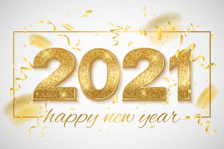 Happy New Year 2021 golden glittering numbers with confetti and tinsel on a bright background. Holiday banner. Greeting card for festive event. Vector illustration. EPS 10