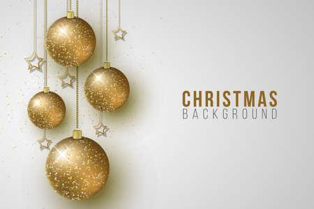 Christmas hanging glittering balls and golden stars on a bright background. Festive design for banner or poster. Vector illustration. EPS 10