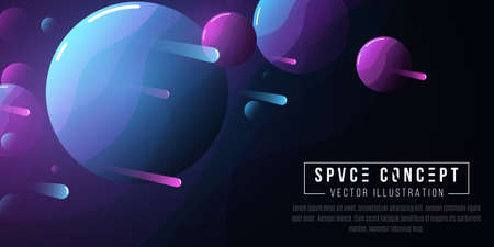 Futuristic deep space cartoon background. Cosmic concept. Flying comets and planets group. Waves pattern. Cover or brochure template. Vector illustration. EPS 10