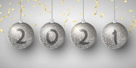 Silver glittering hanging Christmas balls with numbers 2021 New Year. Grunge brush. Golden flying confetti. Background for greeting card or poster. Vector illustration. EPS 10