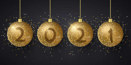 Golden glittering hanging Christmas balls with numbers 2021 New Year. Grunge brush. Festive background for greeting card or poster. Vector illustration. EPS 10