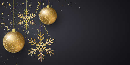 Christmas background with decorations from hanging glittering balls, snowflakes, flying confetti and tinsel on a dark backdrop. Template for greeting card or cover. Vector illustration. EPS 10