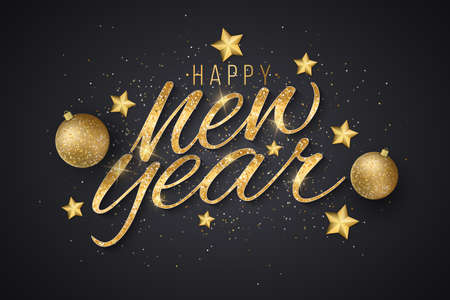New Year golden glittering lettering with decorations from golden stars and festive balls on a dark background. Design for greeting card or poster. Vector illustration. EPS 10