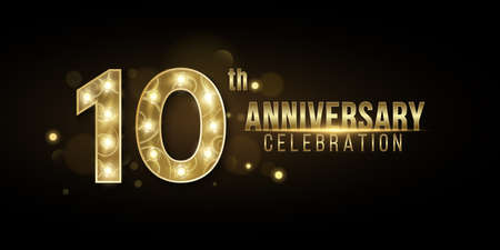10 Years Anniversary cover crafted from elegant golden numbers with chic lamps on a dark background with abstract bokeh lights. Greeting card for birthday or wedding. Vector illustration.