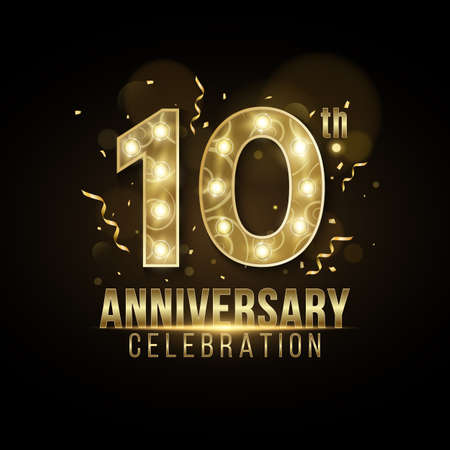 10 Years Anniversary cover crafted from elegant golden numbers with chic lamps on a dark background with falling confetti and tinsel. Greeting card for birthday or wedding. Vector illustration. Иллюстрация