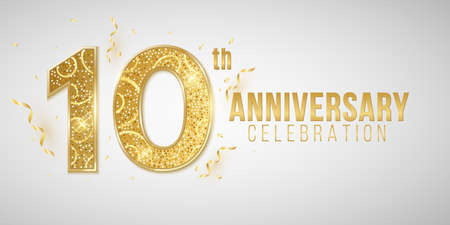 10 Years Anniversary cover crafted from elegant golden numbers on a white background with falling confetti and tinsel. Greeting card for birthday or wedding. Vector illustration. Иллюстрация
