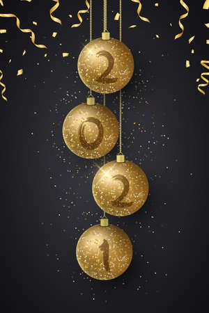 Glittering Christmas balls with numbers 2021 New Year and flying confetti. Grunge brush. Luxurious decoration. Greeting card or poster. Vector illustration.