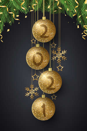 Glittering Christmas balls with numbers 2021 New Year and fir tree. Grunge brush. Luxurious decorations of golden snowflakes and stars. Greeting card or poster. Vector illustration.