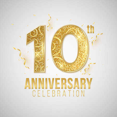 10 Years Anniversary cover. Elegant golden numbers on a white background with falling confetti and tinsel. Greeting card for birthday or wedding. Vector illustration