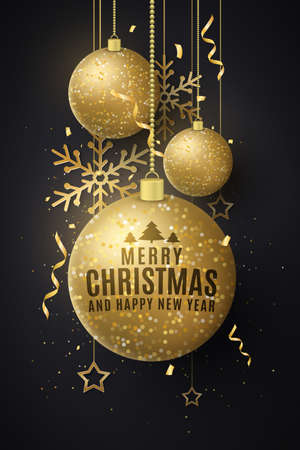 Christmas decorations of glittering golden hanging balls with lettering. Confetti, tinsel, snowflakes, stars. Festive elements for greeting card or poster. Vector illustration.