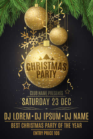 Christmas party flyer template. Decorations from glittering golden balls, stars, snowflakes on a spruce tree. Festive confetti and tinsel. Poster for your club. DJ names. Vector illustration.  イラスト・ベクター素材