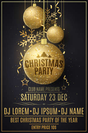 Christmas party flyer template. Decorations from glittering golden balls, stars, snowflakes. Festive confetti and tinsel. Poster for your club. DJ names. Vector illustration.