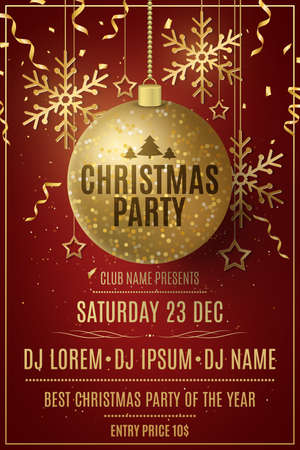 Christmas party flyer template. Decorations from glittering golden balls, stars, snowflakes on a red background. Confetti and tinsel. Poster for your club. DJ names. Vector illustration.