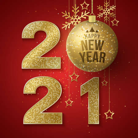 New Year festive cover. Golden glittering numbers 2021 with hanging glittering balls, stars and snowflakes on a red background. Greeting card or banner for a holiday event.