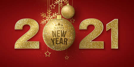 Happy New Year greeting card. Golden glittering numbers 2021 with hanging glittering balls, stars and snowflakes on a red background. Banner for festive event.