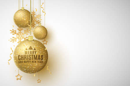 Christmas decorations of glittering golden hanging balls with lettering. Confetti, tinsel, snowflakes, stars. Festive template for greeting card or poster.