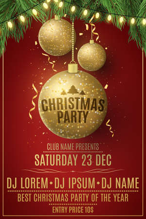 Christmas party poster template. Decorations from glittering golden balls and garland on a spruce tree. Festive confetti and tinsel. Poster for your club.