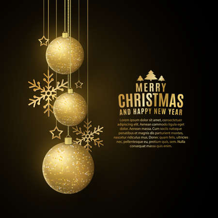 Christmas decorations of glittering golden balls, snowflakes, stars on a black background. Festive template for greeting card. Happy New Year banner.